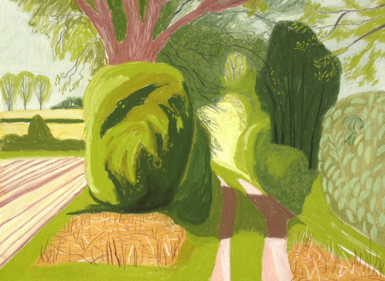 "group-eight: Willingham St Mary Pastel on paper 18""x20""Cornelia FitzRoyhttp://www.corneliafitzroy.co.uk/"