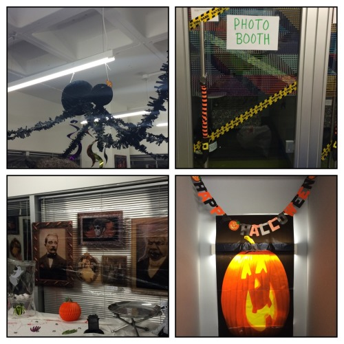"On Tuesday my team almost didn't file our mandatory report with the government because some person working for my company in India pressed the wrong button.  Today I reached that same level of stress when I heard the area of the office my team was given to decorate for our Halloween party tonight may not be in first place…. We are highly competitive when it comes to Halloween. But I think we are back on top. All it took was 2 conference calls, 1 last minute trip to party city, 3 trips back home to various coworkers houses and my boss begging the chief accounting officer of our company to gift a ""lunch with [her]"" as a prize my team will be giving away. At least the stress of this decorations competition is taking away any stress I might have about bringing Emma to a corporate function with 25 other kids that are all hyped up on sugar."
