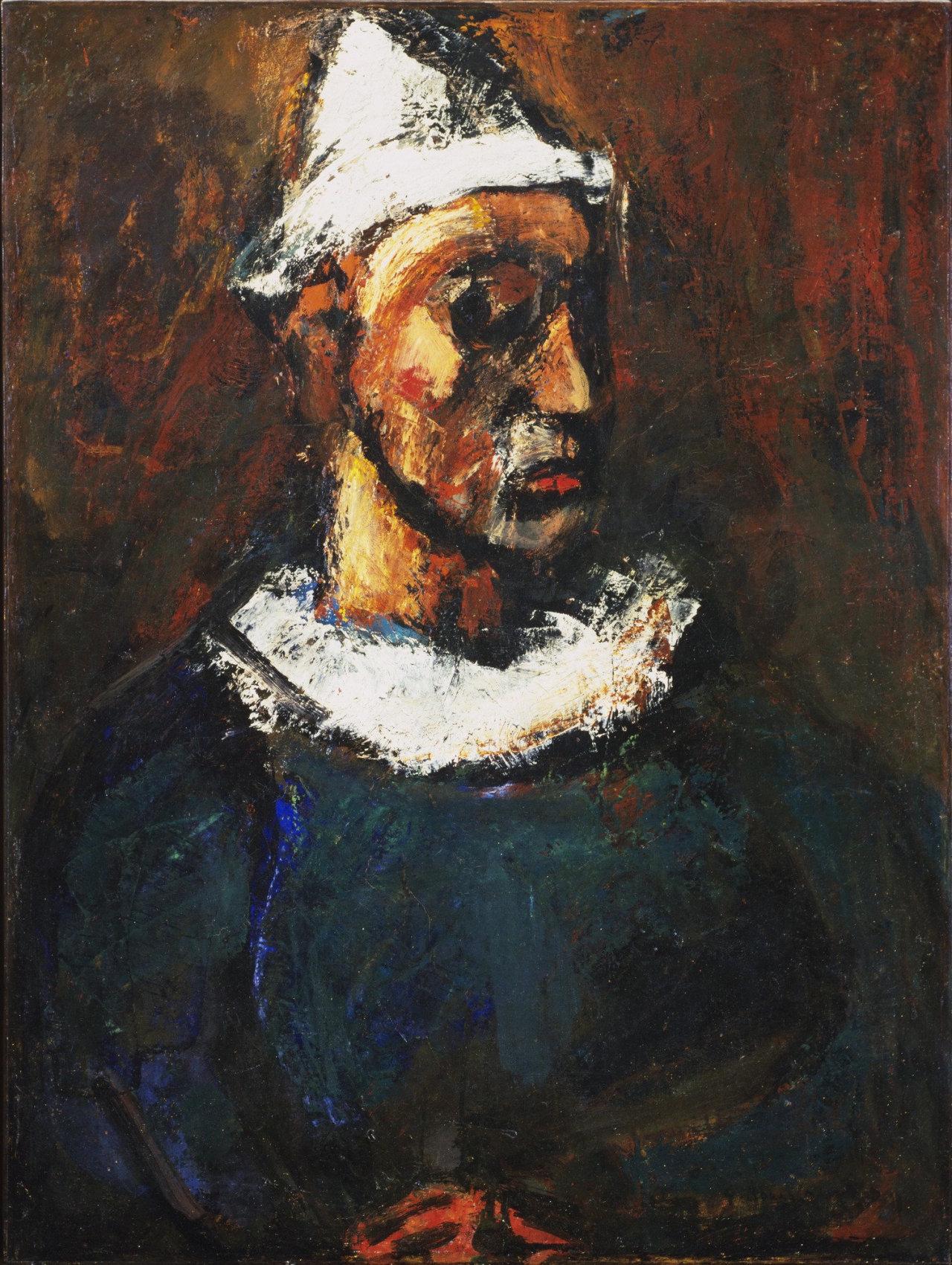 herzogtum-sachsen-weissenfels: Georges Rouault (French, 1871-1958), Clown, 1912. Oil on canvas,89.8 x 68.2 cm.