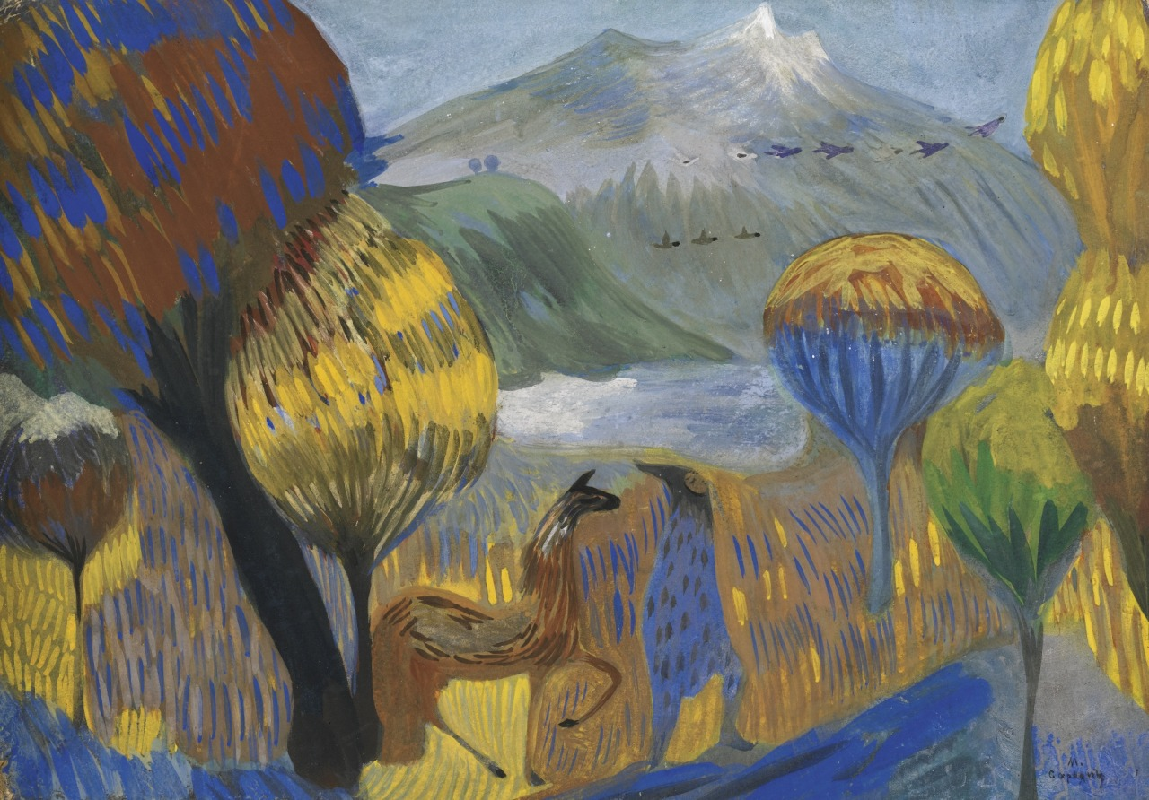 lawrenceleemagnuson:Martiros Saryan (Armenia 1880-1972)The Poet (on the Foothills of the Aragats)tempera on board 25 x 35 cm