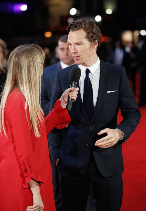 """acc0latus: ☐ Hi-Res - Benedict Cumberbatch speaks to Edith Bowman at the """"Black Mass"""" Virgin Atlantic Gala screening during the BFI London Film Festival, at Odeon Leicester Square on October 11, 2015 in London, England. (Photo by John Phillips) Link"""