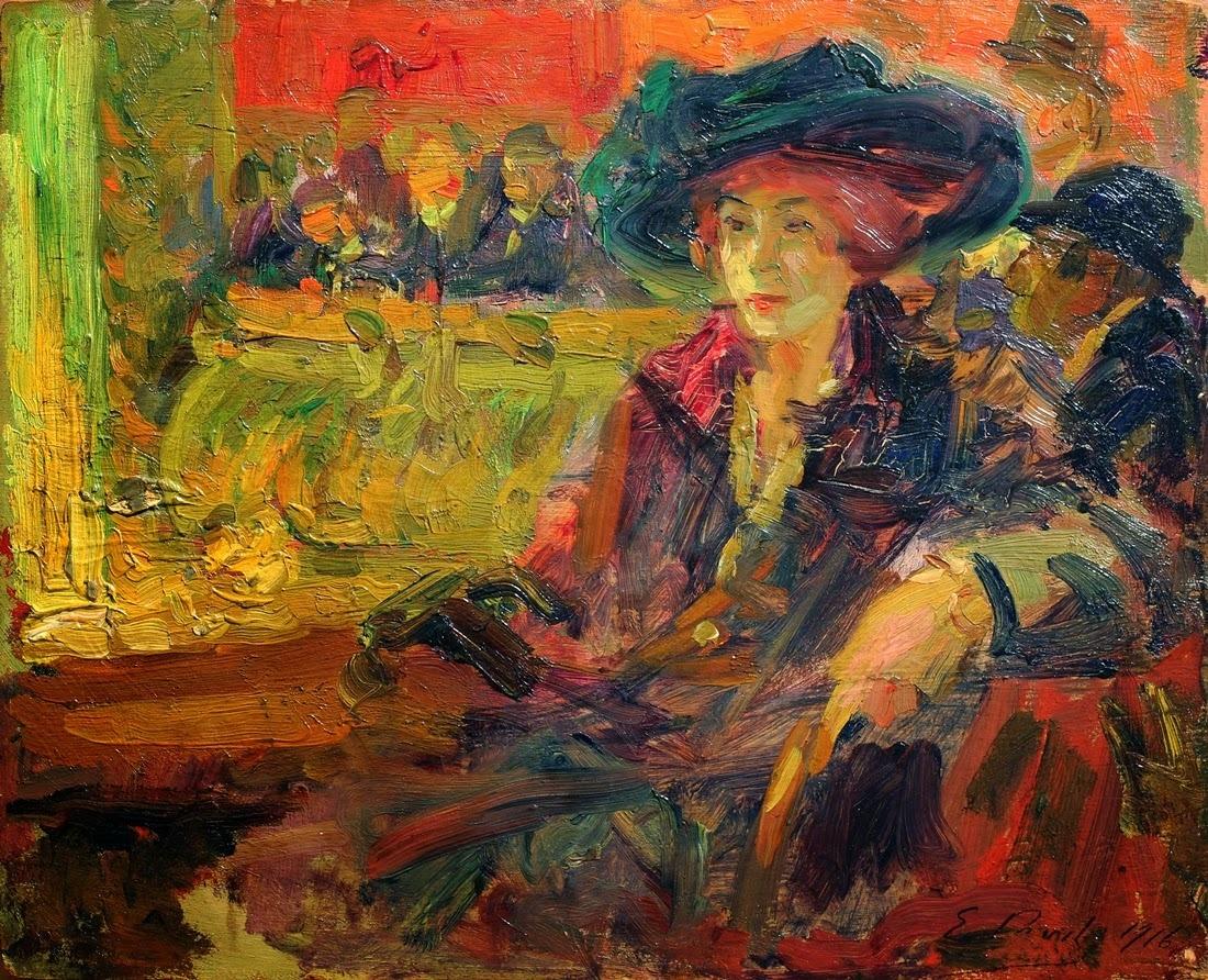 lawrenceleemagnuson:Elie Anatole Pavil (Ukraine 1873-1948 Morocco) La loge en teatre (1916)oil on board 8.6 x 10.5 in.