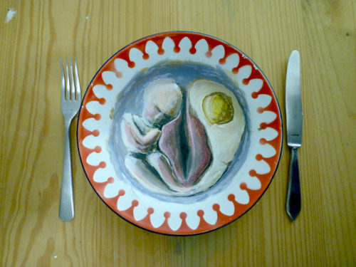 Fertility plate, study, acrylic on plate By Cerqueira Pedro