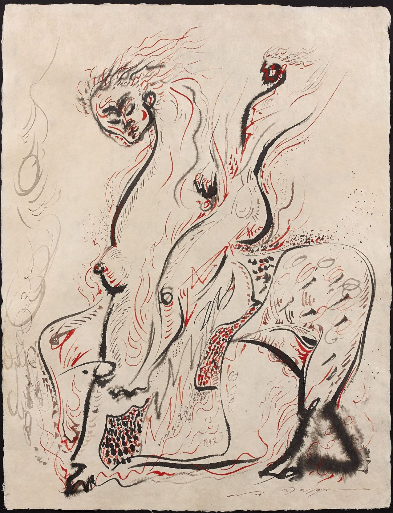 amare-habeo:  André Masson (French, 1896-1987)  Rider Chimeric I (Cavalier Chimerique I), 1968 Ink and color ink on Japanese paper