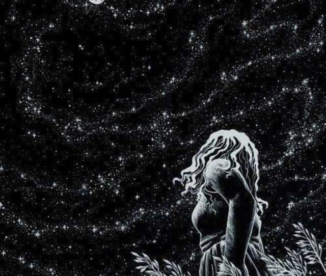 Drawing Art Girl Black And White Beautiful Full Moon Dream Moon Night Stars Night Sky Artwork