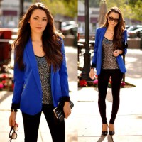 Blue Blazer X Sequin Top X Black Jeans