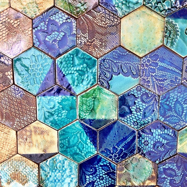 Another successful firing 😃 #tile #tiles #hex #hexagon #hexagonal #handmadetiles #blue #green #glaze #glazes #pattern #patterns #stoneware #art #decor #wall #beautiful #unique #interior #coasters #guymitchell #guymitchellart #guymitchellartist #hexalove