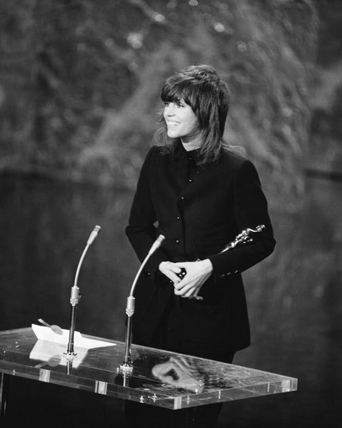 Jane Fonda in Yves Saint Laurent at the 44th Academy Awards, April 1972