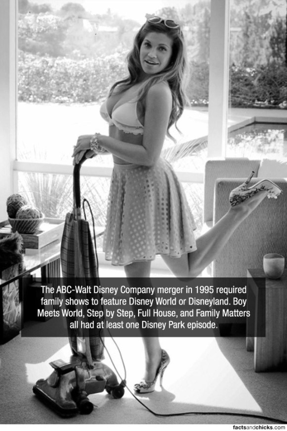 The ABC-Walt Disney Company merger in 1995 required family shows to feature Disney World or Disneyland. Boys Meets World, Step by Step, Full House, and Family Matters all had at least one Disney Park episode.source