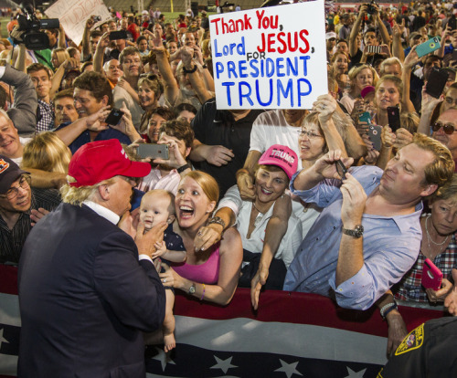 A misguided Christian woman thanks Jesus for'President' Trump (Found here; For a related post, click herehttp://christiannightmares.tumblr.com/post/127240146436/trumphole-donald-trumps-shit-talking-mouth)