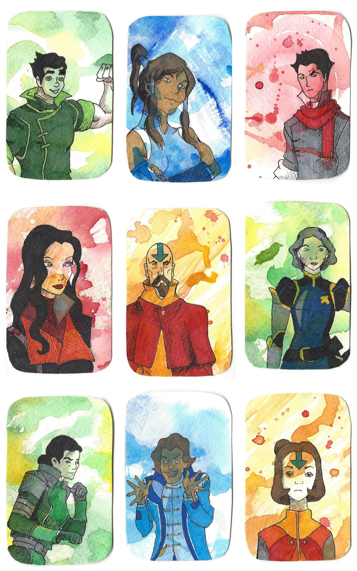 I've been making art cards recently as gifts for my friends before we graduate this spring. Here's some from the Legend of Korra!Watercolor backgrounds with marker drawings on top.