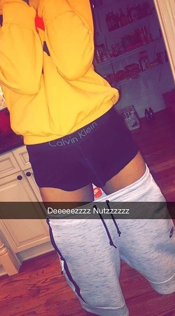 Miracle Watts' snapchat featuring August in boxers