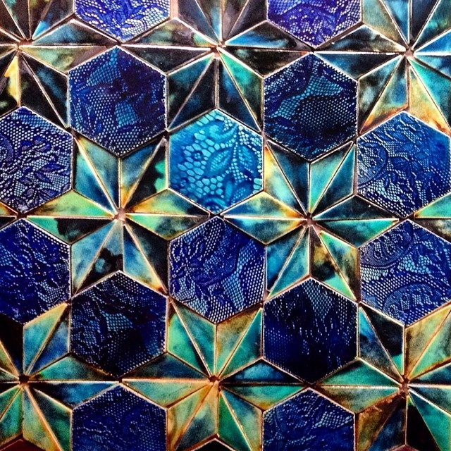 Fancy a #feature #wall like this? You can now buy the #tiles over at http://www.etsy.com/uk/shop/guymitchelldesign #tile #nofilter #blue #green #turquoise #star #hexagon #hexalove #pattern #geometric #walltiles #luxury #surfacedesign #luxe #interiors #interiordesign #decor #walls #architecture #handmadetiles #handmade