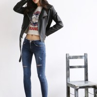 Leather Jacket X Crop Top X Ripped Jeans