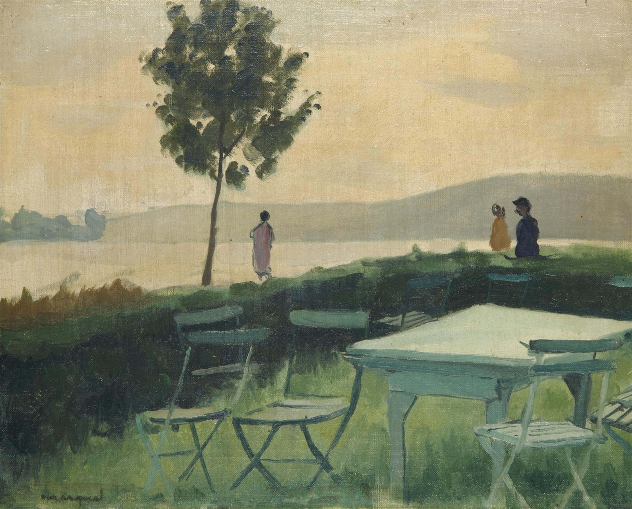 thunderstruck9:  Albert Marquet (French, 1875-1947), Terrasse à Vieux-Port, c.1927. Oil on artist's board, 32.5 x 40.5 cm.
