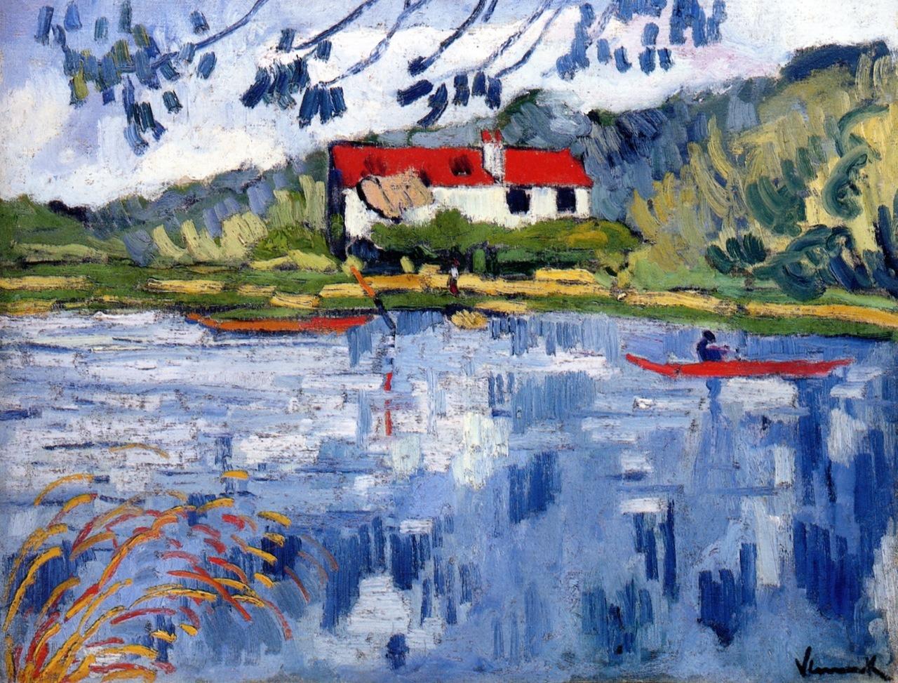 lawrenceleemagnuson: Maurice de Vlaminck (France 1876-1958)Sunny River With Boater (c. 1906)oil on canvas 50 x 65.2 cm