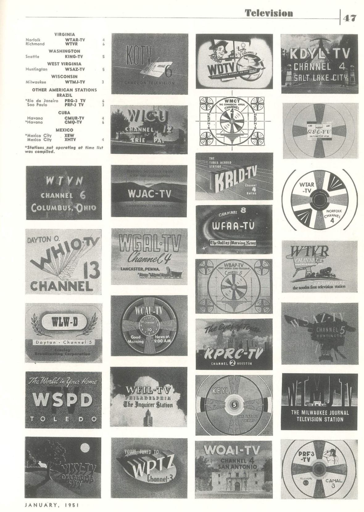 'TV Station List' - page 4 of 4 - published in Radio-Electronics - January 1951