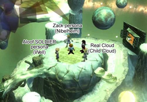 Tifa dentro da mente de Cloud, com seus cinco (5) alters