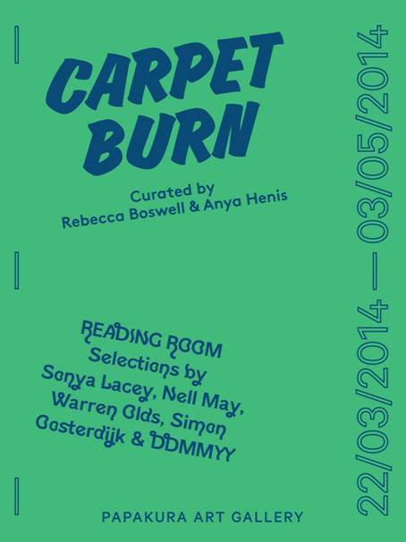 Louise Tu'u (MPHIL at AUT) is in  Carpet Burn, which opens at 10.30am this Saturday at Papakura Art Gallery, 10 Averill St.<br /> Performance at 10.50am,  and also Monday 24th March at 2pm there will be a performance and artist's talk by Louise at the gallery.