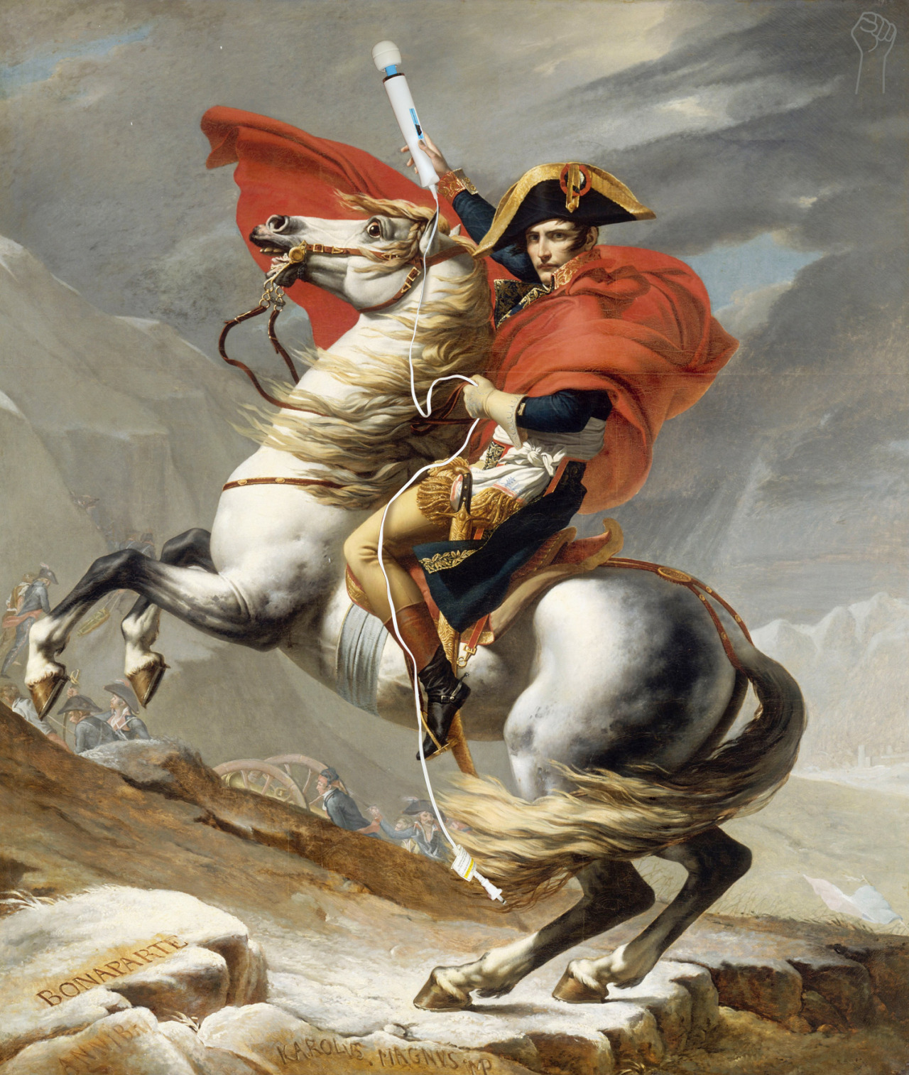 Napoleon Crossing the Alps with Magic Wand by Jacques-Louis David.