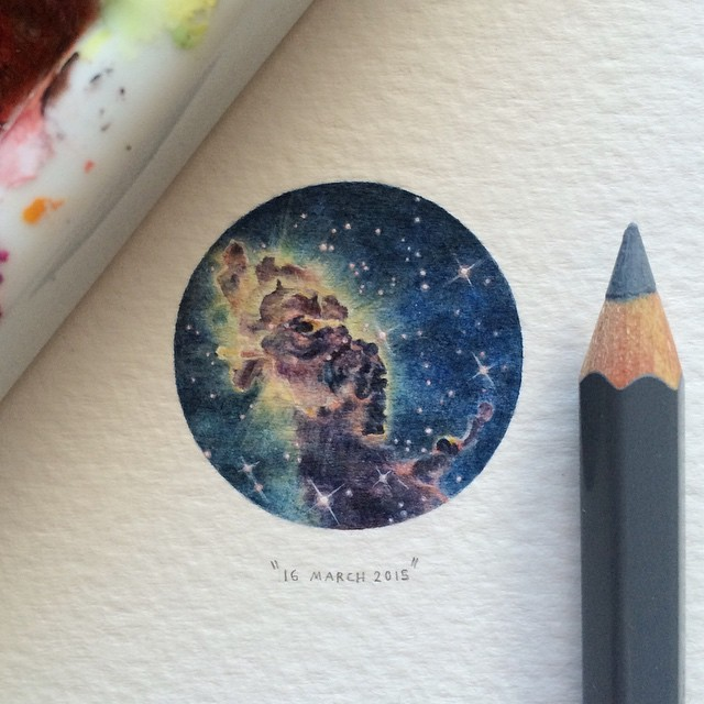 Day 9/100 (3/25 #microcosmmondays) : A stellar jet in the Eta Carina Nebula (also known as the Grand Nebula) | it is one of the largest diffuse nebulae in our skies. 29 x 29 mm. ✨ THIS PAINTING WILL BE UP FOR AUCTION FOR A WEEK STARTING ON 18 MARCH 2015. #paintingsforants #potluck100pfa #miniature #watercolour #art #etacarinaenebula (at Observatory)