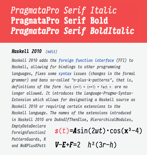 PragmataPro now with Math Serif symbols