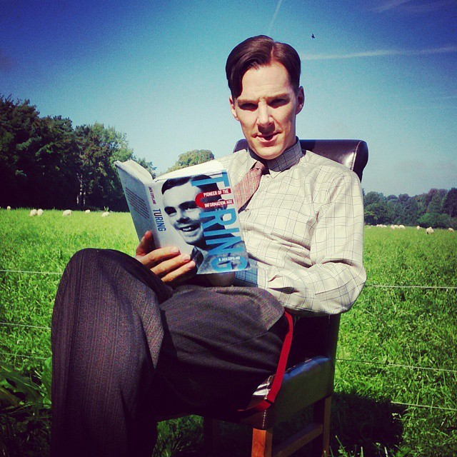 Just found a pic I took of the wonderful Mr.#benedictcumberbatch taken during a break in filming on the #imitationgame . He's dressed as #alanturing and reading Turing's biography. Love him. Top guy and watching him work is like watching an#acting #masterclass . AND he does #gollum impressions to cheer me up when I need it. Dream #dialect client.https://instagram.com/p/1MC3ftFDAb/