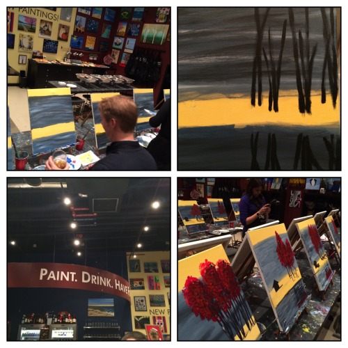 "Work conference's team building activity  at the amazing Pinot Pallete in Stamford. Specialty autumn drink, good food and a painting of my very own to take home. Of course my painting is best summarized by my boss's boss's boss who leaned over to say, ""Sonja I love you but your shadows look like oil spills."" I'd whine but she wasn't wrong!."