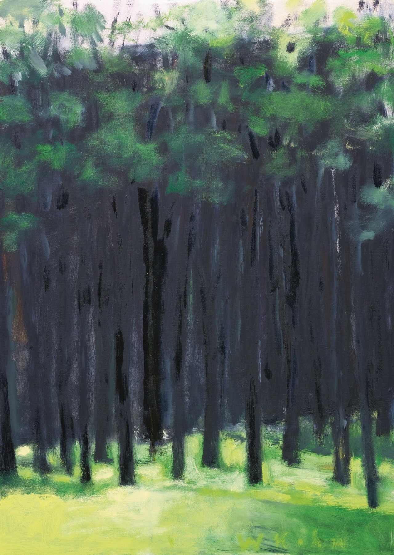 lawrenceleemagnuson:  Wolf Kahn (USA b. 1927) Green and Black (2002) oil on canvas 73.6 x 53.5 cmhttp://www.wolfkahn.com/