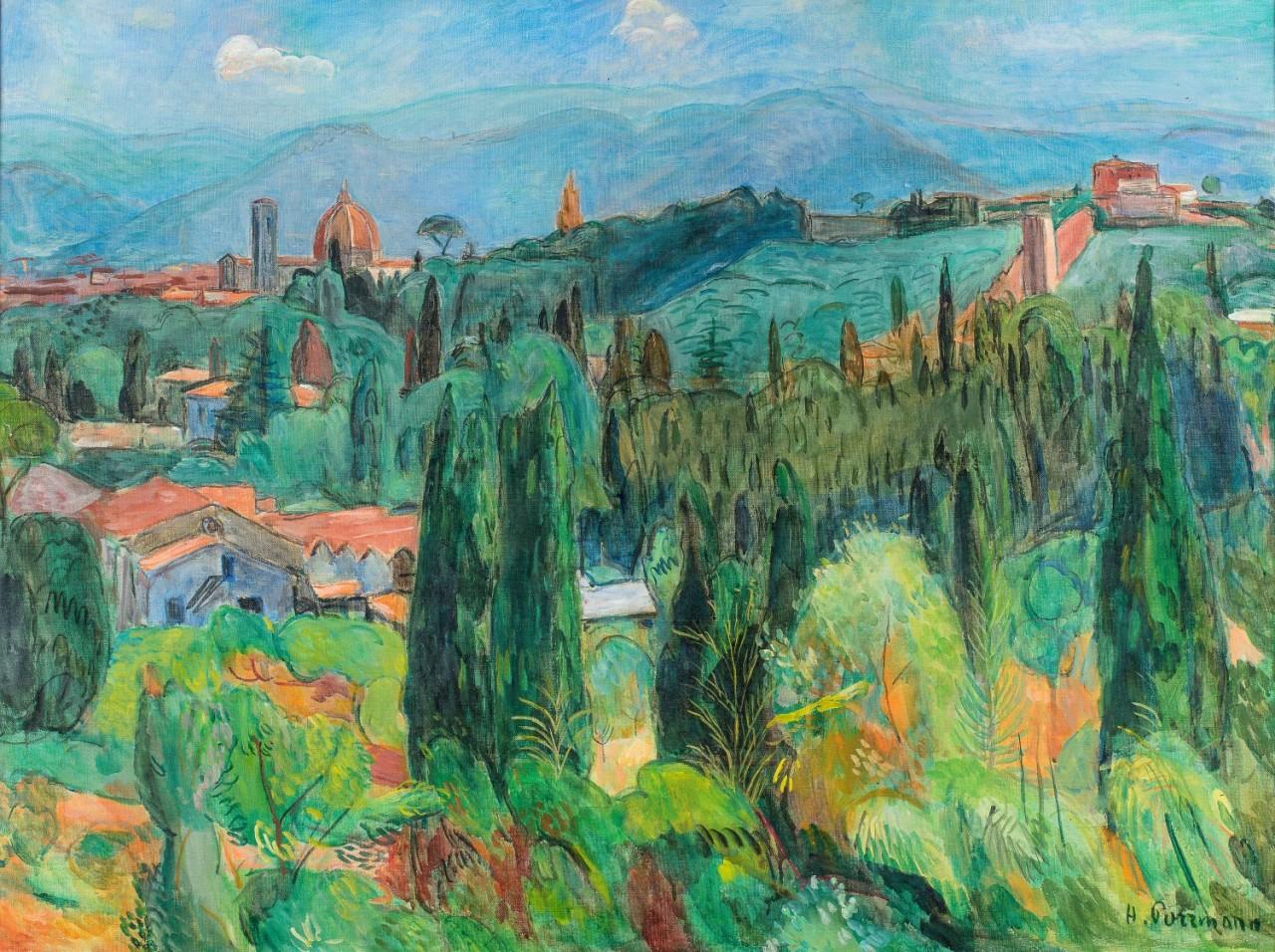 thunderstruck9:Hans Purrmann (German, 1880–1966), Blick auf die Boboli-Gärten [View of the Boboli Gardens], 1943. Oil on canvas, 69 x 94 cm.