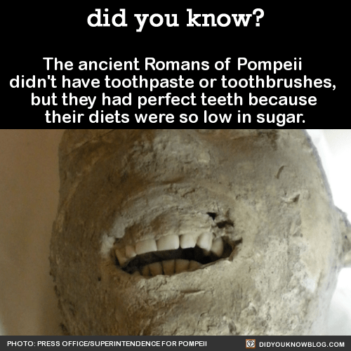 The ancient Romans of Pompeii didn't have toothpaste or toothbrushes, but they had perfect teeth because their diets were so low in sugar. Source