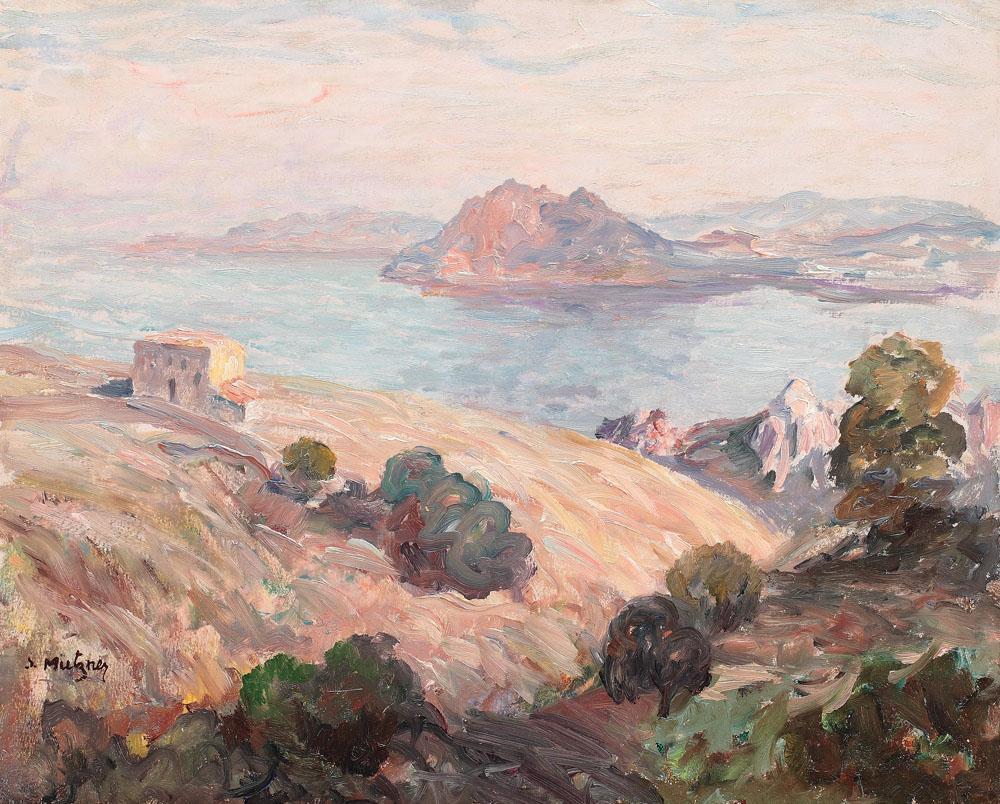 artluv:artschoolsucks:lawrenceleemagnuson:  Samuel Mützner (Romania 1884-1959)Landscape, Corsica 1929oil on cardboard 32.5 x 40.5cm  yes  Yesssss
