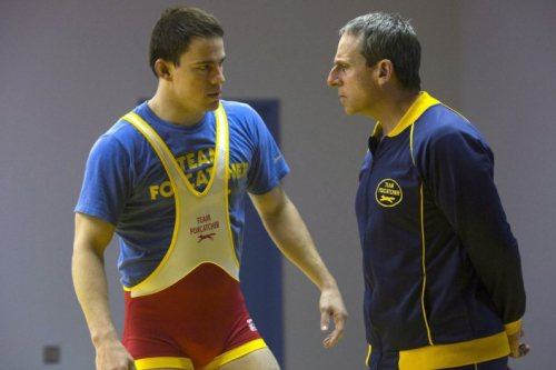 "Foxcatcher either doesn't care or doesn't want to establish exactly from whose perspective the film is, which is, in a way, a double edged sword. So much of the film takes pleasure in lacing every frame and action with ambiguity that it does, understandably, get frustrating. It at once wants to become intimate with its characters – Mark Schultz (Channing Tatum) and David Schultz (Mark Ruffalo), two Olympic gold medalists in wrestling, and John du Pont (Steve Carell), the ""rich old guy"" that recruits both of them to help his Team Foxcatcher to become best in the world – and get inside their heads, but these characters seem to push back against that very idea. So far as understanding them, we get nothing, which is a good thing. There's a lurking desire, something sinister and unsavory throughout. Through Miller's camera and Greg Fraser's (Bright Star, Let Me In, Killing Them Softly) cinematography, we inhabit various gazes. Gazes that want and year and need. But it's hard to tell whose they are. […]  - The Eye in Team: The Gaze of Foxcatcher // The Movie Scene"