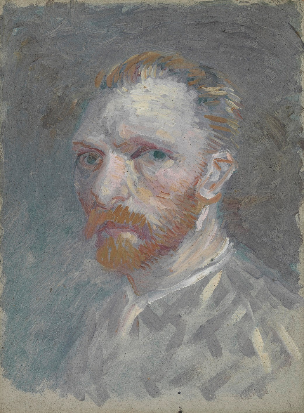 Van Gogh, Self-Portrait, March-June 1887. Oil on cardboard, 19.1 x 14.1 cm. Van Gogh Museum, Amsterdam.
