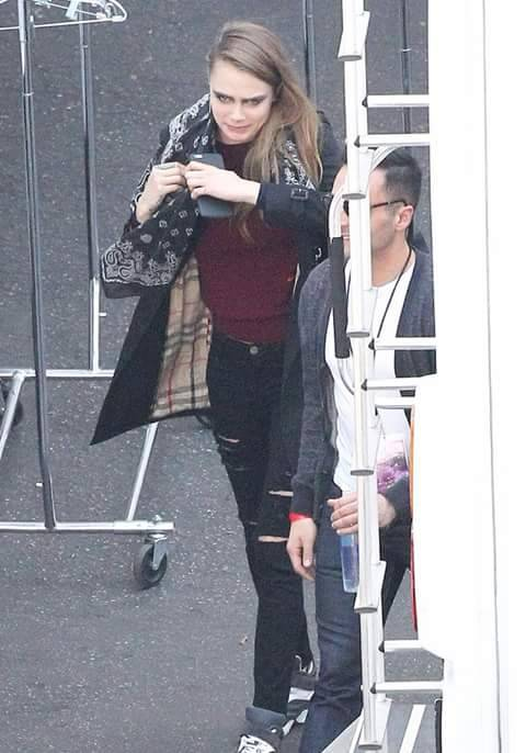 Cara Delevingne was spotted around the set too.