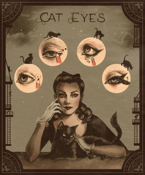 sarah anderson, artwork, cat eye, makeup, glamour, vintage