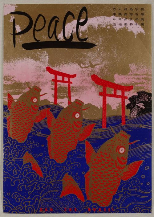 Japanese Poster: Peace. Ban the Nukes!Kazumasa Nagai. 1987.