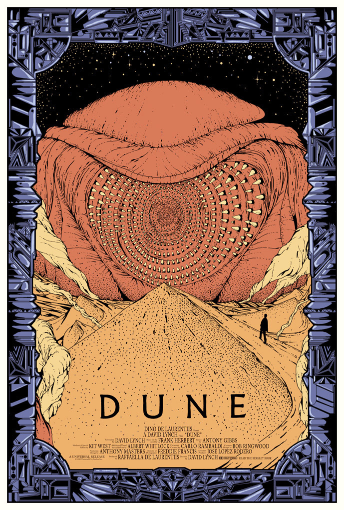 <br /> Limited edition DUNE poster made for Mondo. Currently exhibited togheter with a lot of sweet art at their new Gallery space in Austin/Texas wich had a grand opening yesterday.<br />