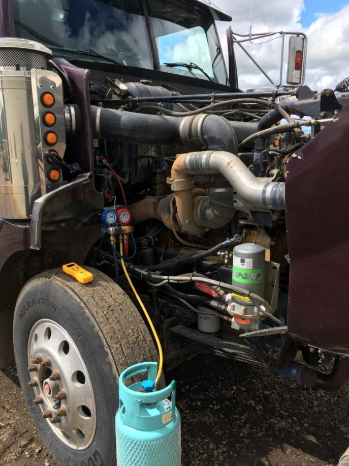 Grain truck air condioning servicing