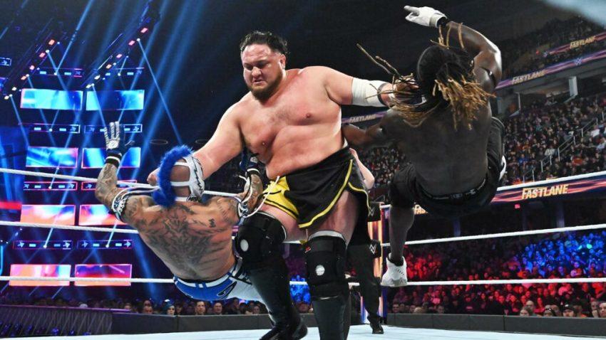 Fastlane 2019 - Samoa Joe vs Andrade, R-Truth and Rey Mysterio