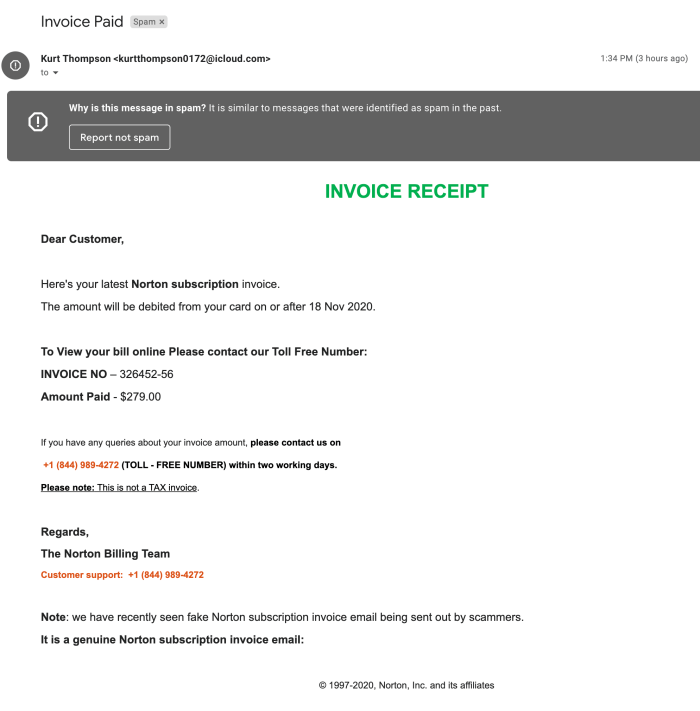 SPAM Email NORTON