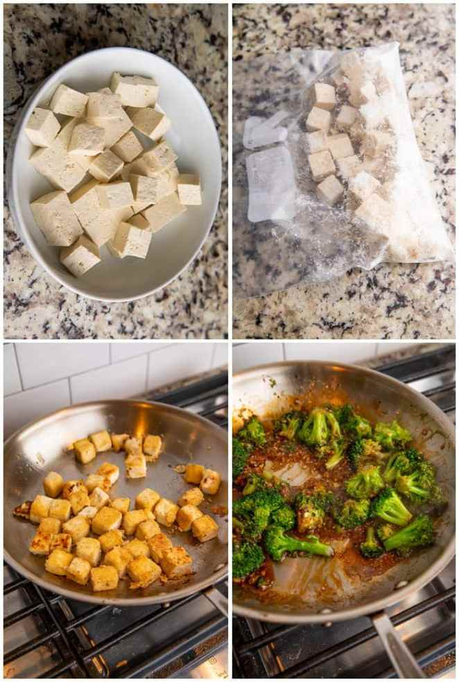 Instructions for tofu and broccoli