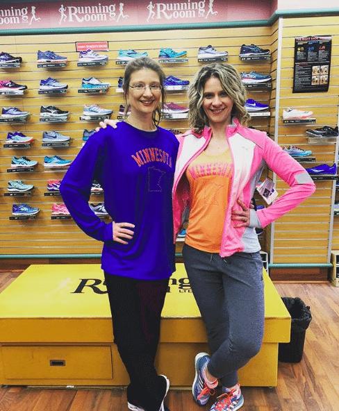 Kim Zabel and Melissa McNallan at Running Room in Rochester