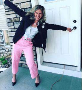 Melissa McNallan wearing Kate Spade jacket