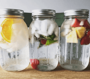 Keeping Hydrated with Mason Jars of Water