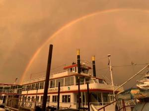 Klassen Performance Group Women Ignite Paddleboat and Rainbow at Dock