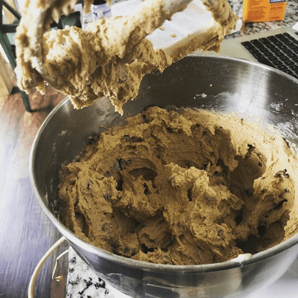 Mixing up chocolate chip cookie dough
