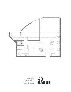 40 hague floorplan for unit 112, a one bedroom loft in Detroit