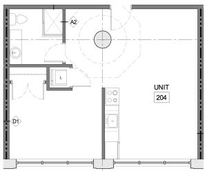 40 Hague floorplan for unit 204, a one bedroom loft in Detroit
