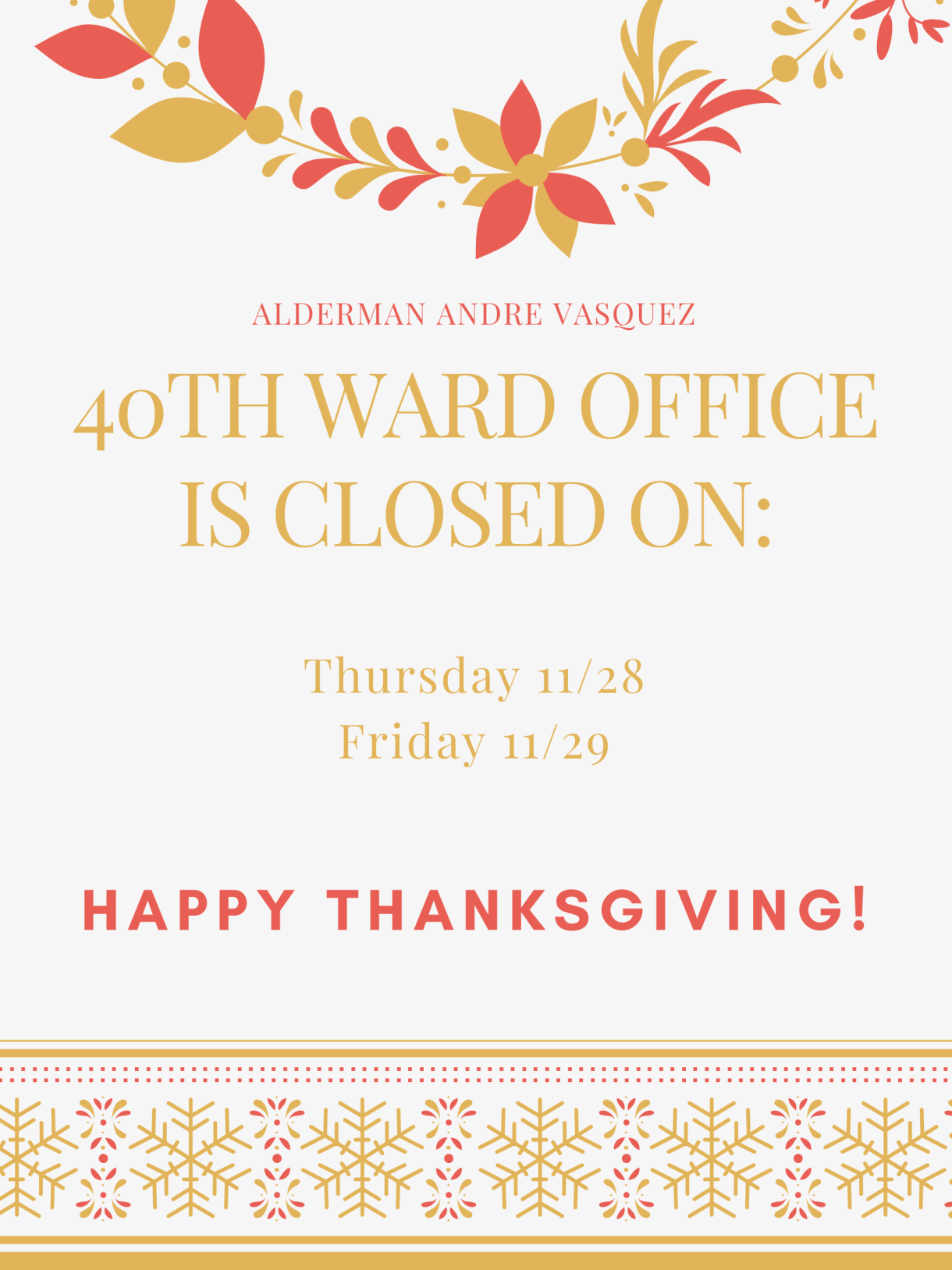 40th Ward office thanksgiving hours